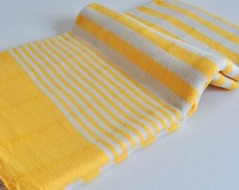 Genuine hand loomed Turkish Towel Peshtemal Towel yellow ivory striped for Beach and Bath