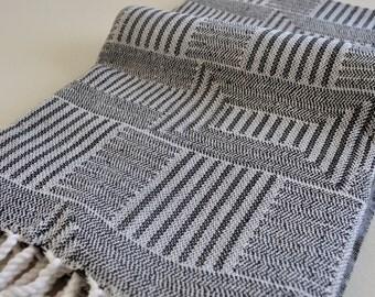 Turkish Towel Rug pattern cotton peshtemal towel in black and white soft