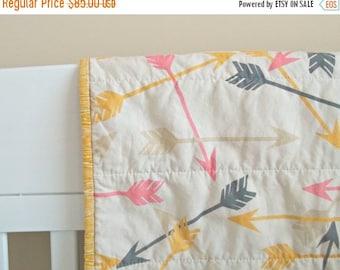 FLASH QUILT SALE Arrow Baby Quilt - Crib Quilt - Baby Blanket