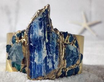 RAW KYANITE CUFF - Apatite & Aquamarine - ooak