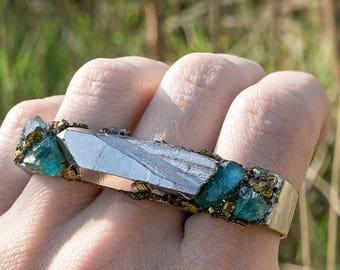 TRIPLE RING - QUARTZ, Apatite & Pyrite