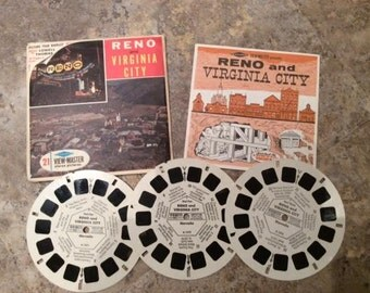 View-Master Reels Reno and Virginia City Nevada Original Sleeve Viewmaster Reels Sawyer's A157