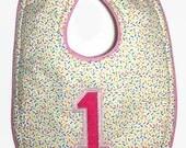 Girl Birthday Bib - First Birthday Bibs - 1st Birthday Cake Smash - Baby Girl Bib - Dribble Bib - Ice Cream Bib - Sprinkle Bib - Pink Bib
