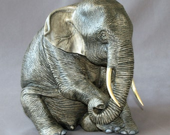 """Bronze ELEPHANT """"Elephant Papa"""" Figurine Statue Sculpture Art / Limited Edition Signed & Numbered / Gorgeous!"""