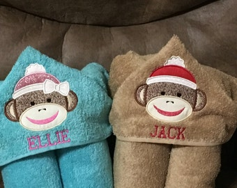 Sock Monkey Hooded Towel