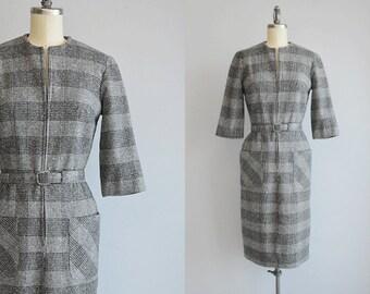 Vintage 1960s Wiggle Dress / 60s Grey and Black Wool Tweed Glen Plaid Zipper Shirt Dress