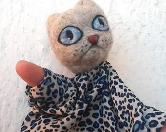 Hand puppet cat needle felted