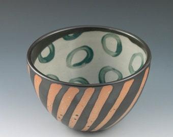 Serving Bowl Small Handmade Ceramic in Black and Orange Stripe with Teal Circles