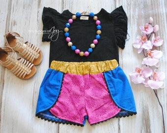 Anna Frozen Inspired Shorts - Coachella Shorts - Princess Outfit - Princess Shorts - Anna Frozen Outfit - Frozen Birthday Outfit