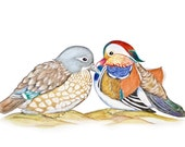 ORIGINAL DRAWING Feng Shui Symbol Love & Loyalty Mandarin Duck Couple, Comes with Certificate of Authenticity, Wedding or Engagement Gift