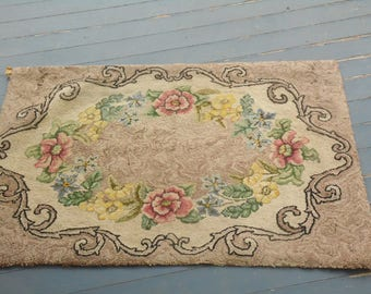 1940s Hand Hooked Rug