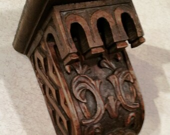 """Antique Hand Carved Wood Icon Shelf - 8-1/2"""" Tall"""