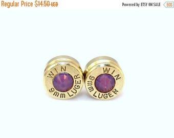 30% OFF SALE Bullet Earrings. Cyclamen Opal  .9mm Luger