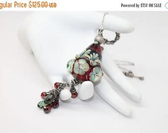 30% OFF SALE Ruby Red Lampwork  Necklace  with Swarovski Crystal Briolettes. by Lori Davidson . Very Glassy Gifts