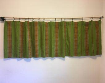 Vintage Curtains, Short Curtains, Green Striped Curtains, Green Valance, Vintage Drapery