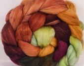 Batt in a Braid #28 -Hand dyed top for spinning-Icelandic Poppies (4.5 oz.) SW merino/ Grey Baby Alpaca / silk /faux cashmere (50/25/13/12)