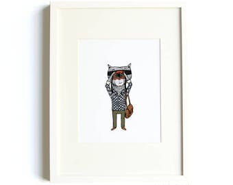 Photographer Raccoon Print - 8x10 Jaunty Animals Print by Hello Small World, Photography Print, Photographer Print, Raccoon Print, Navy Blue