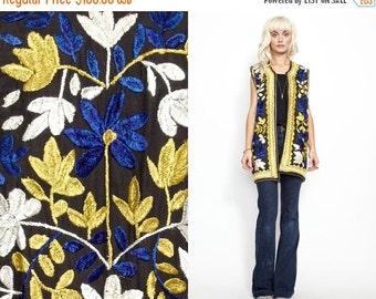 50% OFF ENTIRE STORE Vintage 60s 70s Heavily Embroidered Boho Hippie Long Vest // Ethnic Jacket // Velvet feel // India