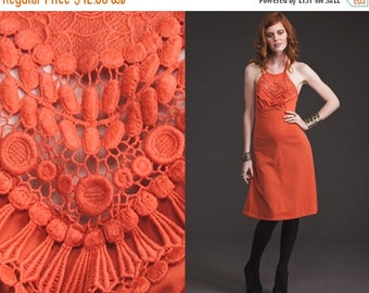 50% OFF ENTIRE STORE Vintage Coral Crochet Top 70s Dress // Halter // Sheer Lace