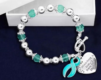 Teal Where There is Love Ribbon Bracelet  Support Awareness Ovarian Cervical Cancer