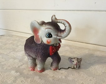 Vintage Arnart Popcorn Porcelain Elephant with Baby on a Chain,Elephant Figurines