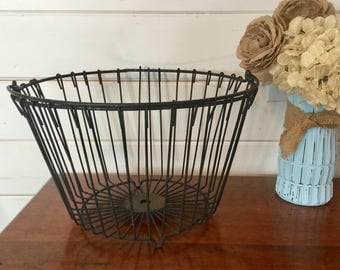 Vintage metal egg gathering basket, Egg basket, Vintage basket, Farm basket, Handle basket for gathering eggs