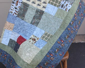 "Lap Quilt ""Gone Fishing"" - Handmade Quilt - Northwoods"