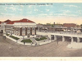 Vintage Postcard...Illinois, Illinois Central Railway Station and Subway, Champaign...Used, 1931...no. 2156