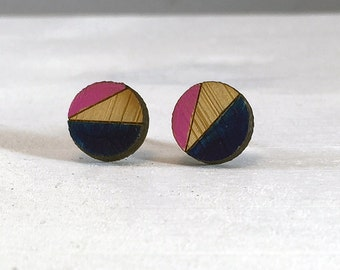 Wood Earrings // Navy and Pink Round Bamboo // Geometric // Hypoallergenic  // Wood Jewelry //
