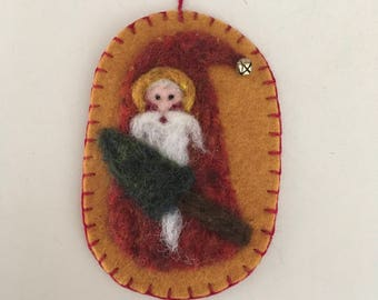Needle Felted Santa Gnome With Red Variegated Body With Tree And A Jingle Bell