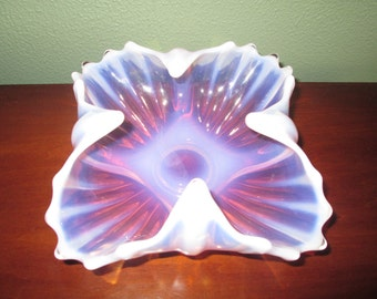 Fostoria Heirloom Pink Opalescent Square Florette Bowl