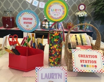 CHEVRON ART PARTY Happy Birthday {3 Piece Centerpiece} - Rainbow Colors - Party Packs Available