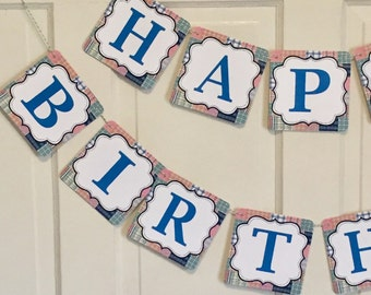 MADRAS PREPPY PLAID Happy Birthday or Baby Shower Party Banner - Party Packs Available