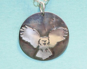 Barn Owl in Flight Necklace in Sterling Silver on Oxidized Background - Silver Metalsmith - Silver Cutout - Owl Pendant - Nature Lovers Gift