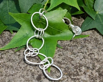 Oval and Double Link Sterling Silver Bracelet - Bridesmaid Gift - Hammered Chain Bracelet - Handmade Chain - Artisan Metalwork - Metalsmith