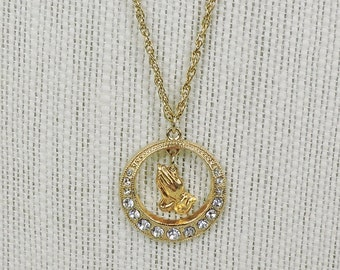 Vintage Praying Hands and Rhinestone Pendant Necklace, Gold tone