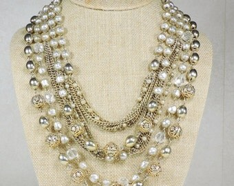 Vintage Multi strand Necklace, Faux Pearl, Filigree and Glass Beads
