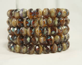 8x6MM  Picasso Light Amber and Amethyst Faceted Glass Beads 15 Pcs