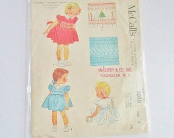 Vintage McCalls Toddler Smocked Dress Pattern Size 3 1955
