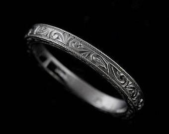 Engraved Women's Wedding Ring, Scroll Carved White Gold Wedding Ring, Art Deco Wedding Band, New Vintage Wedding Ring, Milgrain Ring 2.5mm