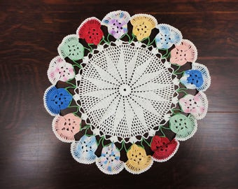 """Vintage Doily with Large Colorful Pansies - 16"""" Diameter - Ivory Red Blue Yellow Green Variegated"""