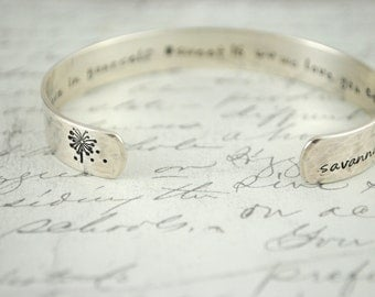 Time and Distance Mean Nothing Between Sisters or Custom Keepsake Hand Stamped Cuff Bracelet. Secret Message