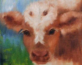 Cow Art Print | Cow | Barn Animal | 8x8|12x12|16x16