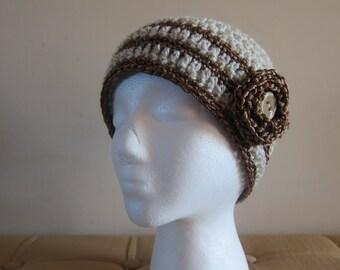 Beanie with Flower for Women, Womans Crochet Hat, Crocheted Hats for Women, Beige Beanie, Metallic Trim Hat, Beanie for Woman, Neutral Hats