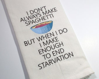 Spaghetti Towel -Mom Cooking - Pasta Funny - 10 dollar gift - Sarcastic Spaghetti  Quote - Embroidered Towel -  Funny Kitchen Towel - mom