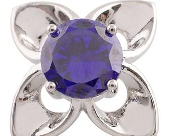 1 PC 18MM Purple Flower Rhinestone Silver Candy Snap Charm KC9036 Cc2862