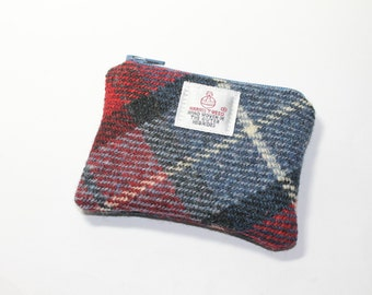 HARRIS TWEED purse, coin purse, change purse, navy blue, red and grey Tartan pattern