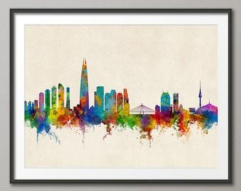 Seoul Skyline, Seoul South Korea Cityscape, Art Print (2712)