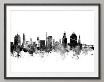 Durham Skyline, Durham North Carolina Cityscape Art Print (2781)