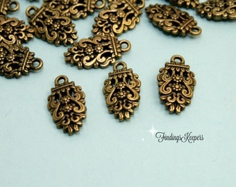 3 Teardrop Charms, Filigree Teardrop Charm, Antique Bronze Tone 16 x 9 mm  bz424